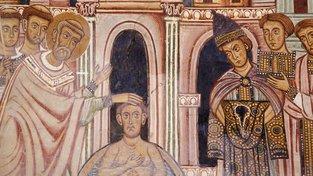 Papež Silvestr křtí císaře Konstantina, freska z cyklu Tváře svatého Konstantina, 13. století
