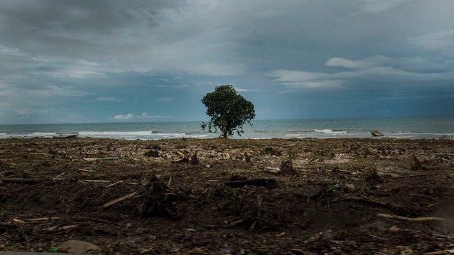 Následky tsunami na pláži Panimbang