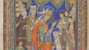 Scéna z Olomouckého horologia, na které je zřejmě napravo od ústřední postavy svatého Řehoře vyobrazen Vladislav II