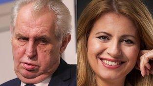 Miloš Zeman a Zuzana Čaputová, kandidátka na slovenskou prezidentku