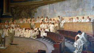 Cicero pronáší před římskými senátory svou slavnou řeč proti Catilinovi