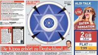 Vystřihovánka židovské jarmulky v deníku Bild z 27. května
