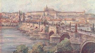 Pohled na Pražský hrad, Karlův most a část Vltavy