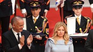 Zuzana Čaputová a dosavadní prezident Andrej Kiska