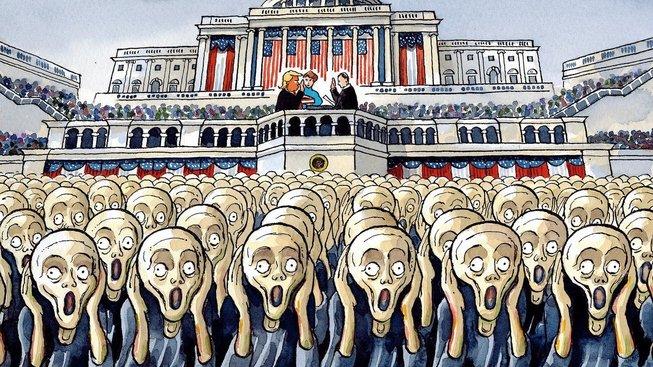Trumpova inaugurace v karikatuře Petera Brookese