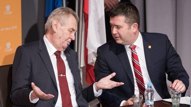 Prezident Miloš Zeman a předseda ČSSD Jan Hamáček