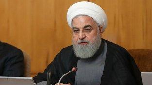 Íránský prezident Hassan Rúhání (vpravo)