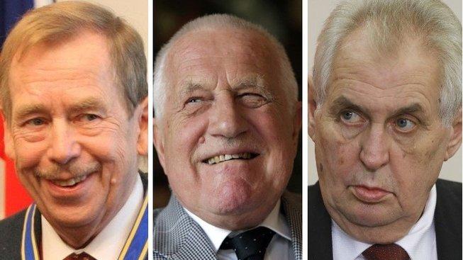 Václav Havel, Václav Klaus a Miloš Zeman - tři čeští prezidenti. První dva volili poslanci a senátoři, třetího lid - k obrazu svému