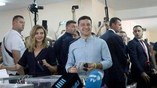 Prezident Volodymyr Zelenskyj během ukrajinských parlamentních voleb