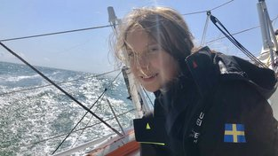 Greta Thunbergová na jachtě Malizia II