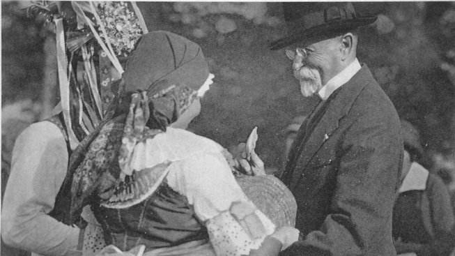 Prezident Tomáš Garrigue Masaryk na Hektorovi léta obrážel setkání s obyvateli celé republiky