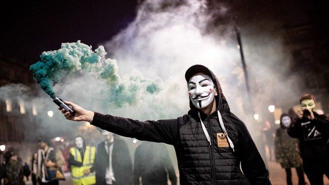 Million Mask March Londýn, 5. listopadu 2018