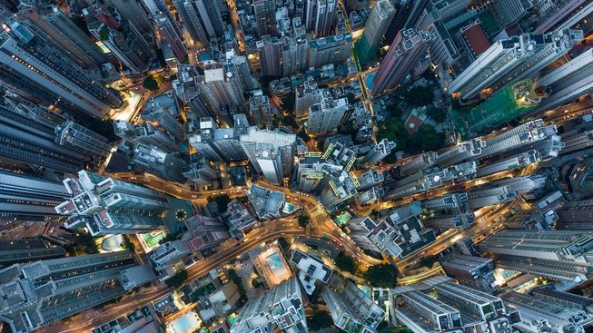 Jedna z nejoblíbenějších Mumfordových fotek - chaos Hong Kongu