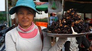 Pavoučí trh v kambodžském Skuonu