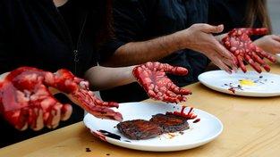 Jedna z mnoha protestních akcí veganů