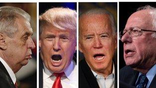 Prezidenti a prezidentští kandidáti Miloš Zeman (75 let), Donald Trump (73), Joe Biden (77) a Bernie Sanders (78)