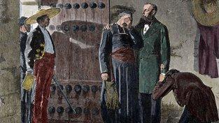 Maxmilián I. Mexický se před popravou loučí se svými příznivci