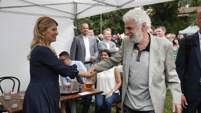 Fedor Gál se slovenskou prezidentkou Zuzanou Čaputovou během její návštěvy Prahy v červnu 2019