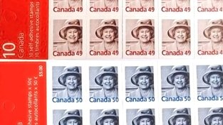 Kanadské známky s portrétem Alžběty II., jehož autorem je Bryan Adams