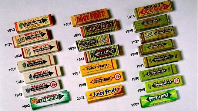 Wrigleyho žvýkačky a jak se měnily jejich obaly