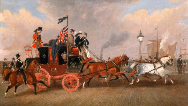 Britský poštovní vůz na trase Edinburgh-Londýn v roce 1847