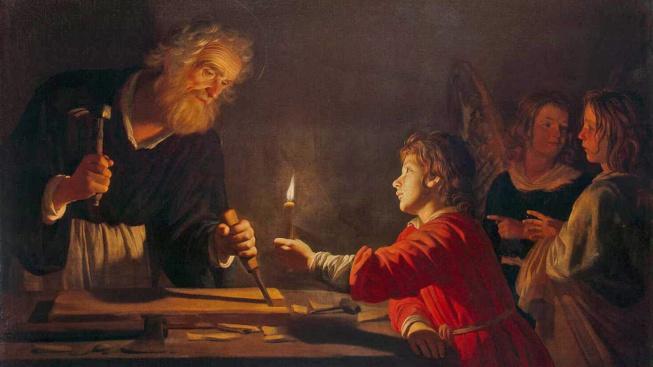Josef s malým Ježíšem od Gerrita van Honthorsta (1592-1656)