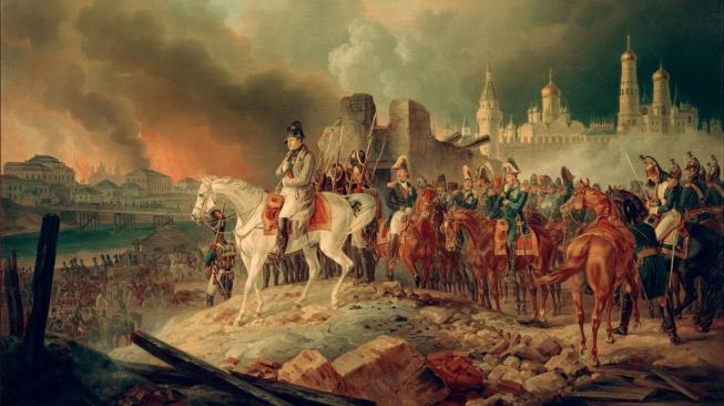 Napoleon se svými důstojníky před hořící Moskvou