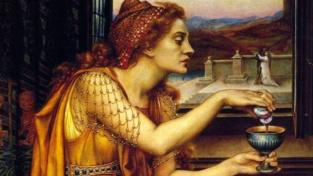 Travička Giulia Tofana. Její skutečnou podobu neznáme, nikdy nebyla portrétována. Podle pověsti to však byla krásná žena