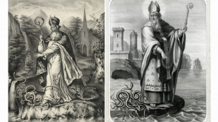 Svatý Patrik zahání hady do moře