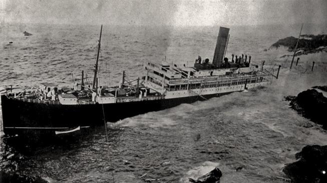 Slavonia najela 10. června 1909 na útes
