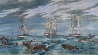 "Výsek z obrazu ""Grand Panorama of a Whaling Voyage 'Round the World"""