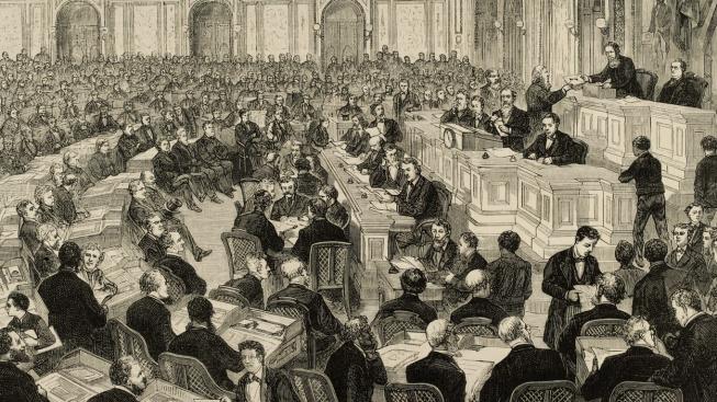 Kongres ověřuje výsledky volby, po níž se stal prezidentem USA Rutherford Hayes