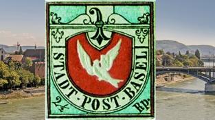 Basilejská holubice (Basler Dybli), první barevná poštovní známka na světě