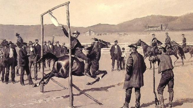 Úkolem závodníků bylo za jízdy utrhnout hlavu zavěšené huse