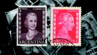 Známky s Evou Perónovou se decentně razítkovaly při okraji