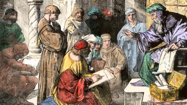 Středověký arabský učenec vyučující algebru a geometrii.