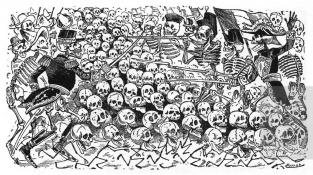 Dobová karikatura ke druhé francouzské intervenci v Mexiku (1861-1867)