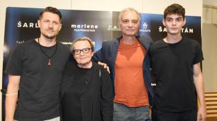 Juraj Loj, Agnieszka Hollandová, Ivan Trojan a Josef Trojan na srpnové tiskovce k filmu Šarlatán