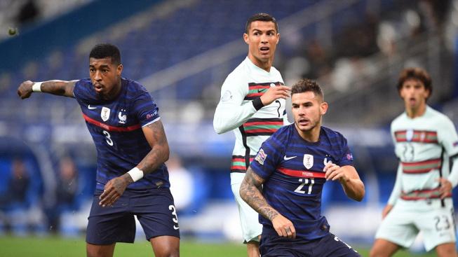 Cristiano Ronaldo při utkání Ligy národů s Francií