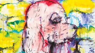 Josef Bolf | bez názvu (z cyklu Obličeje), akvarel a tuš na papíře, 41,5 × 59 cm, 2020, vyvolávací cena: 26 000 Kč, odhadní cena: 30000–40000 Kč
