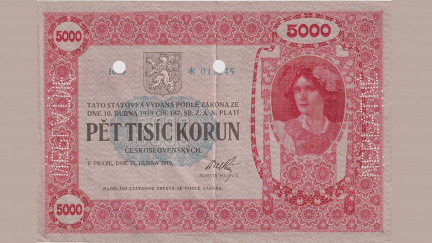 Pětitisícikoruna z roku 1919 se vydražila za rekordních 12 milionů