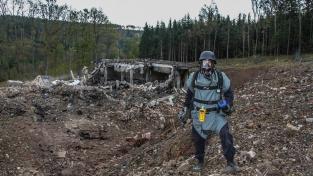 Pyrotechnik na místě výbuchu ve Vrběticích