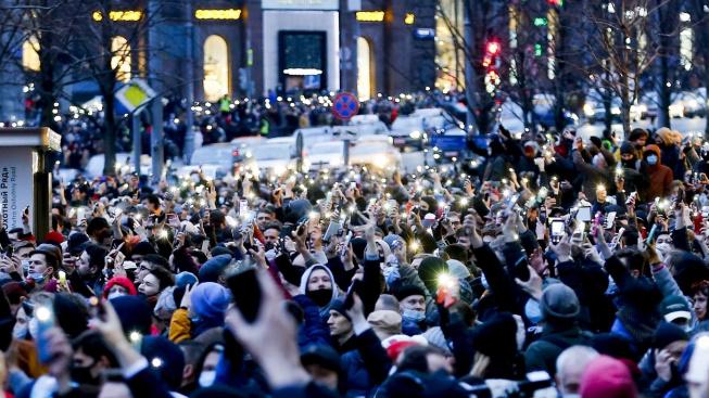 demonstrace na podporu ruského opozičníka Navalného
