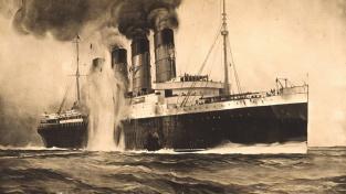 Lusitania zasažená německým torpédem