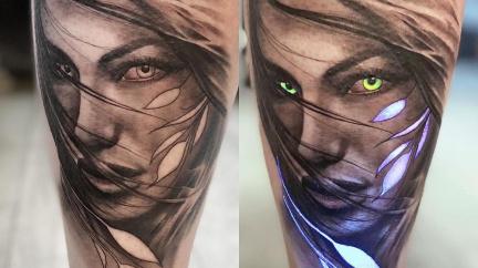 Umělec vytváří tetování, která v noci svítí jako baterka