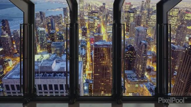 Odklopovací okno na vyhlídce Centra Johna Hancocka v Chicagu