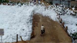 Indické jezero Bellandur pokryla silná vrstva toxické pěny