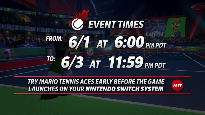 Mario Tennis Aces - Pre-launch Online Tournament Details
