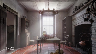 Počítačová rekonstrukce kuchyně z počátku 18. století