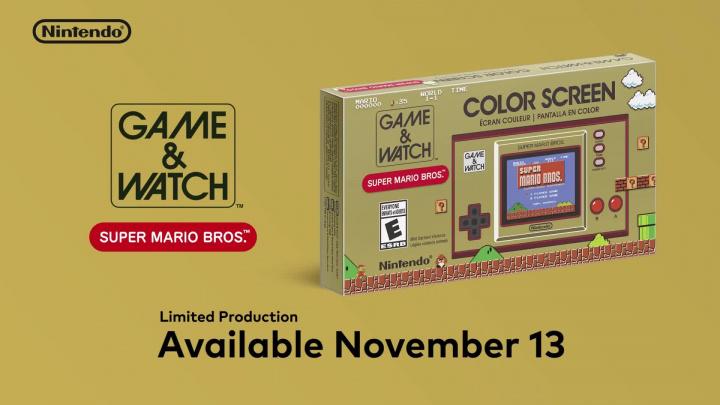 Game & Watch: Super Mario Bros. - Oznámení budíku kříženého s handheldem